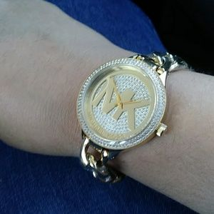 Michael Kors Gold Pave Slim Runway Chain Watch